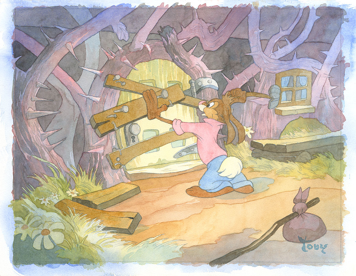 Toby Bluth - Farewell to the Briar Patch original painting