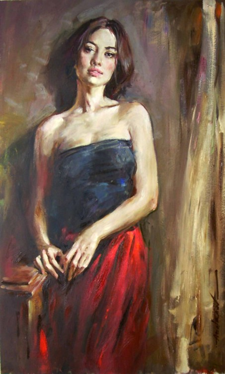 Andrew Atroshenko - Awaiting - Oil on Canvas Original Painting