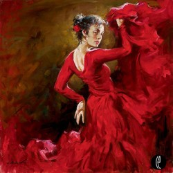 CRIMSON DANCER Hand Embellished Giclee on Hand-Textured Canvas 40 x 40 Edition Size: 95 by Andrew Atroshenko