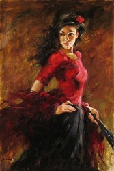 FAN DANCER Hand Embellished Giclee on Hand-Textured Canvas 36 x 24 Edition Size: 95 by Andrew Atroshenko