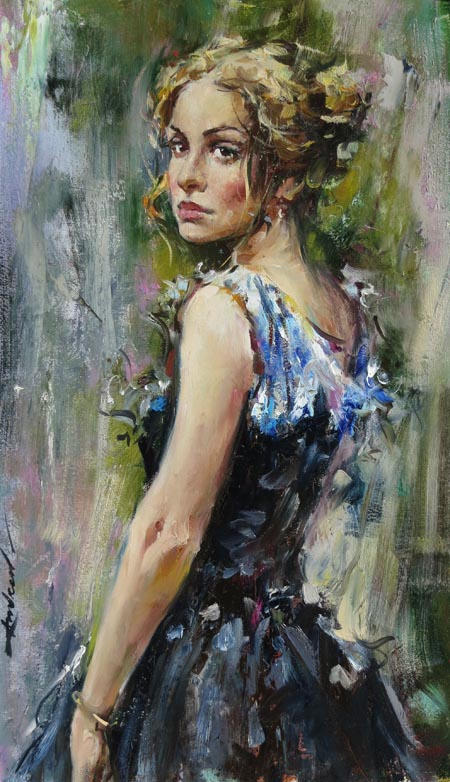 Andrew Atroshenko - Looking Back - Oil on Canvas Original Painting