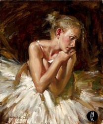 THOUGHTS BEFORE THE DANCE Hand Embellished Giclee on Hand-Textured Canvas 24 x 20 Edition Size: 50 by Andrew Atroshenko