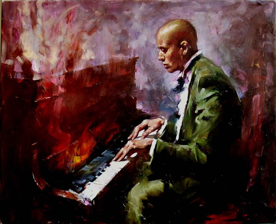 Breaming Jazz  Oil on Canvas Original Painting