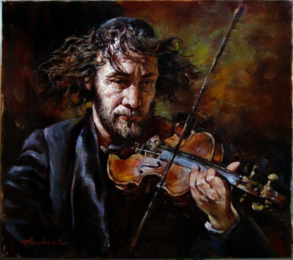 FIDDLER  Oil on Canvas Original Painting