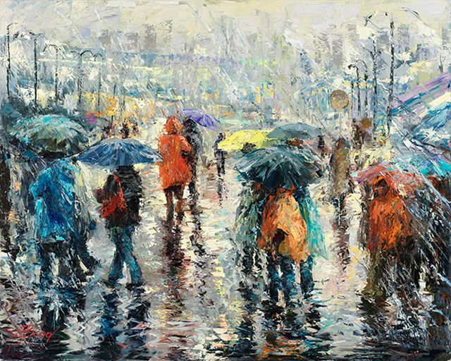 Elena Bond - A Storm on the Plaza - Limited Edition on Canvas