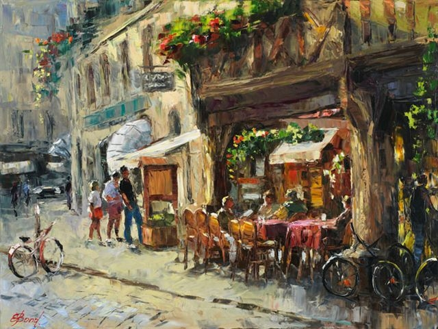 Elena Bond - THE CAFE AT COTE DU NORD - Limited Edition on Canvas