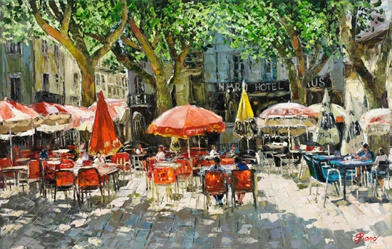 Elena Bond - The Cafe in Arles - Limited Edition on Canvas