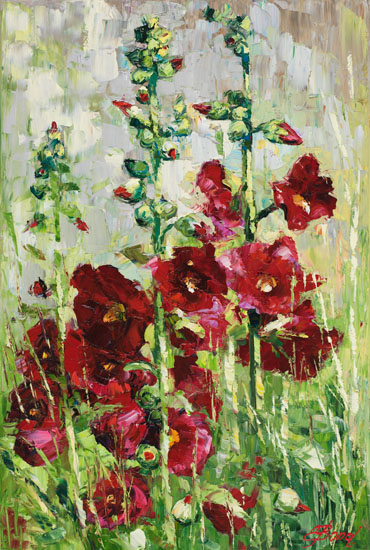Elena Bond - Hollyhocks