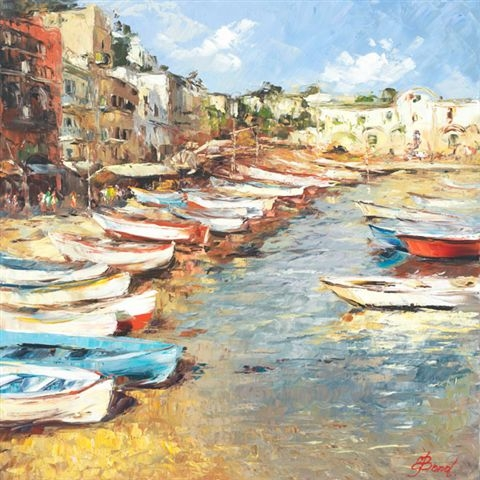 Elena Bond - Mediterranean Fishing Boats - Limited Edition on Canvas