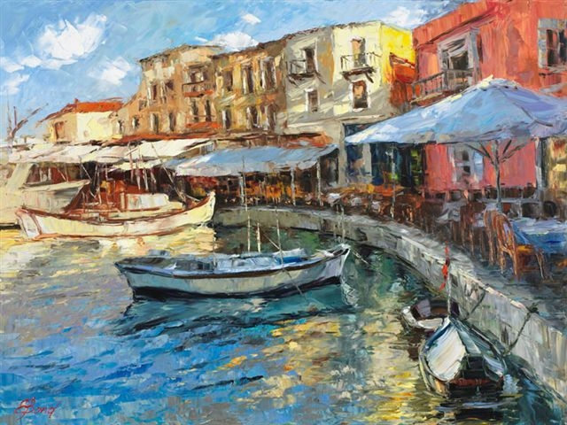 Elena Bond - MORNING PORT - Limited Edition on Canvas