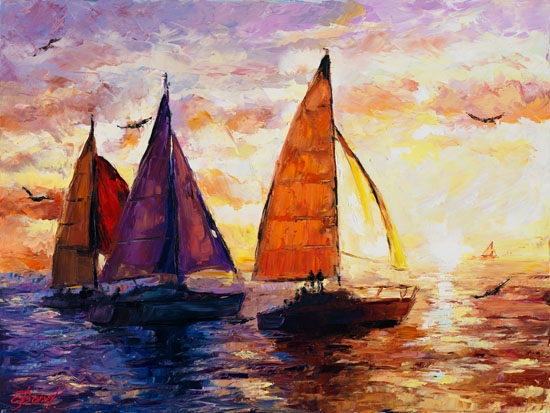Elena Bond - Sailing Sunset - Limited Edition on Canvas