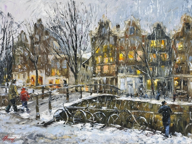 Elena Bond - Winter In Amsterdam - Limited Edition on Canvas