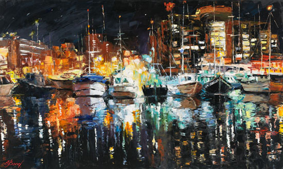 Elena Bond - northwest harbor evening