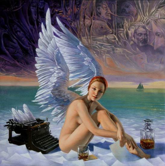 Michael Cheval - Angel-of-Key-West - Oil on Canvas