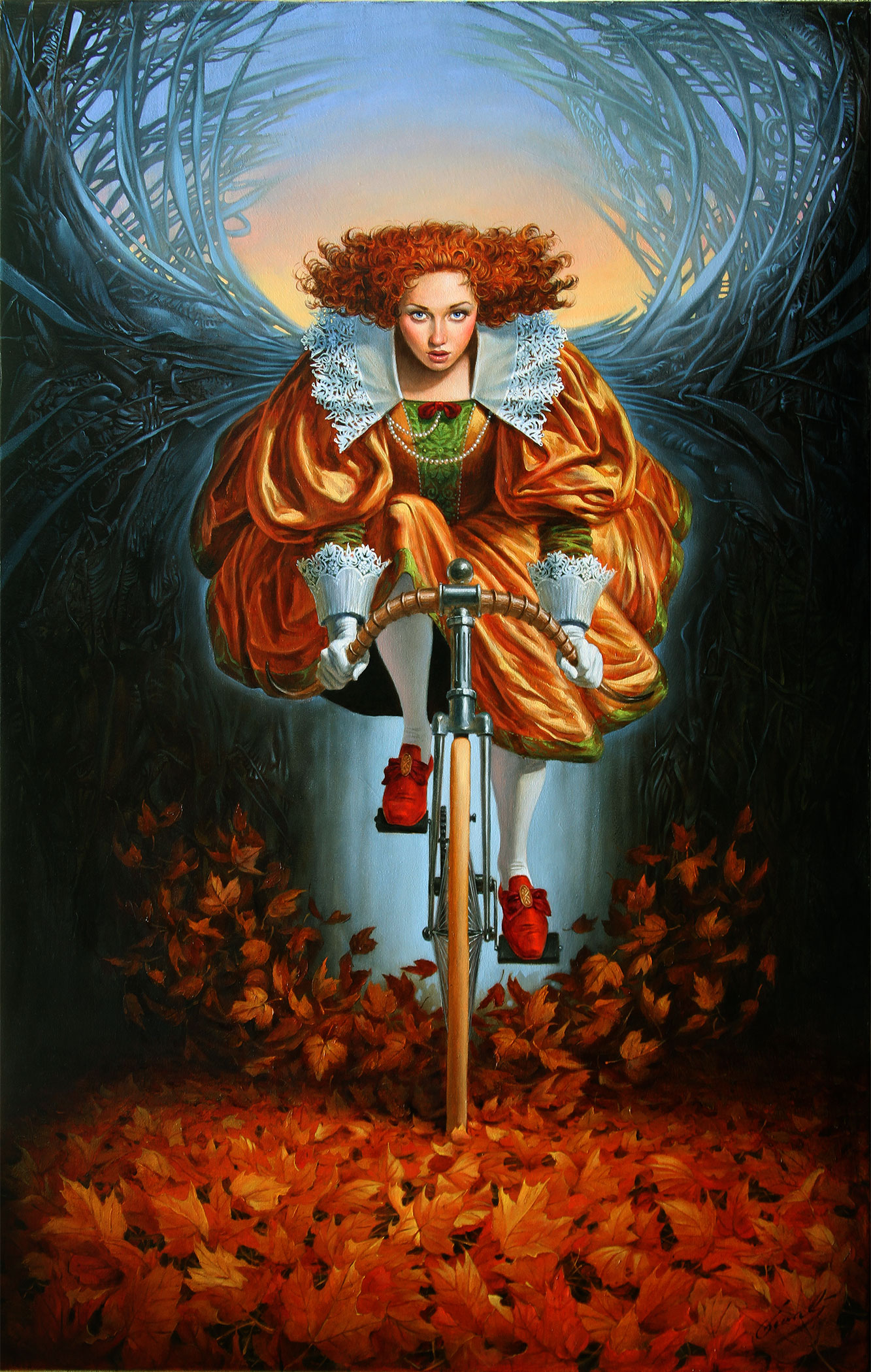 Michael Cheval - ON THE WINGS OF FALL - Oil on Canvas