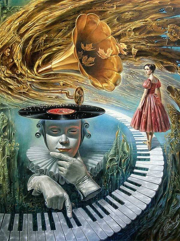 Michael Cheval - SOUNDING SILENCE - Oil on Canvas