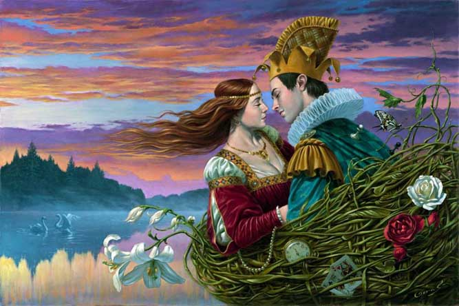 Michael Cheval - BASKET OF LOVE II - Oil on Canvas
