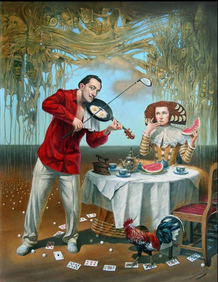 Michael Cheval - BREAKFAST WITH HUMPTY DUMPTY - Oil on Canvas