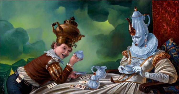 Michael Cheval - BUNFIGHT CONFIDENTIAL - Oil on Canvas