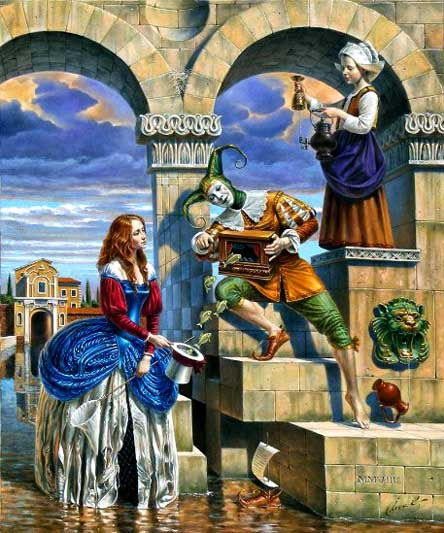 Michael Cheval - CHARMER OF ATTRACTION - Oil on Canvas