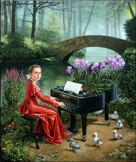 Michael Cheval - DANCE OF LITTLE SWANS II - Oil on Canvas
