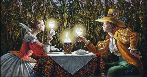 Michael Cheval - DELIGHTED BY THE LIGHT - Oil on Canvas