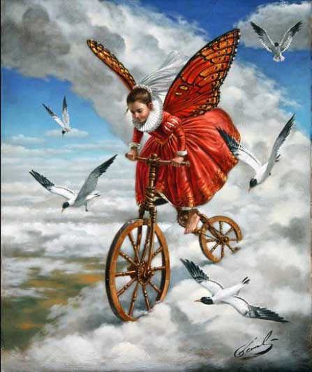 Michael Cheval - DOWN TO EARTH - Oil on Canvas
