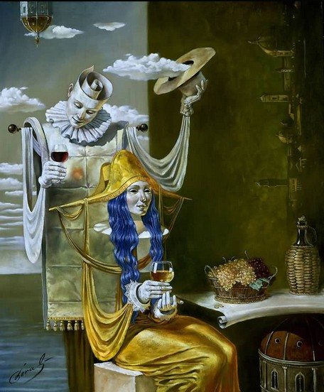 Michael Cheval - ECHO OF THE GOLDEN AGE - Oil on Canvas