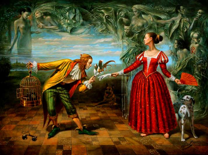 Michael Cheval - GALLANTRY CONVENTION - Oil on Canvas