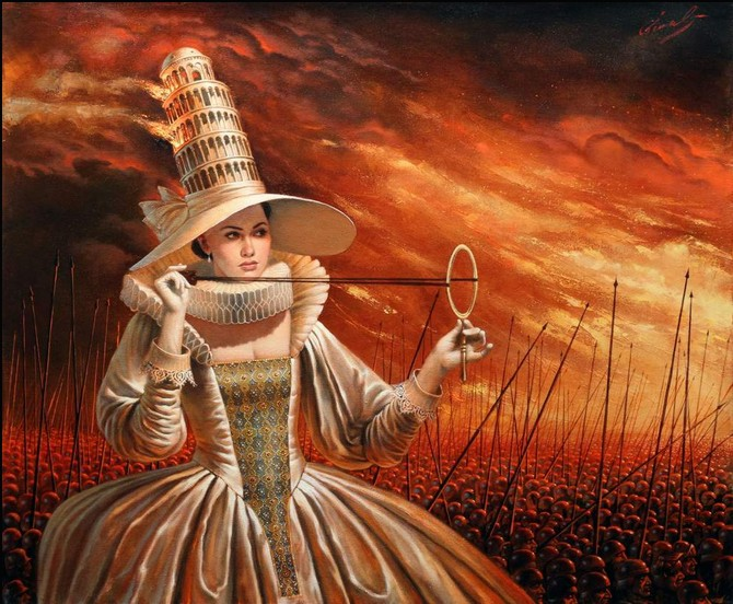 Michael Cheval - GLAMOROUS HISTORY OF WARS - Oil on Canvas