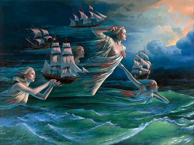 Michael Cheval - HARBOR OF HOPE - Oil on Canvas