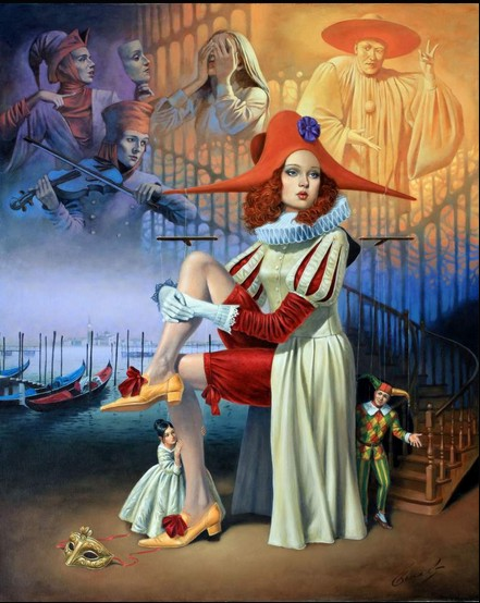 Michael Cheval - HIDE AND SEEK - Oil on Canvas