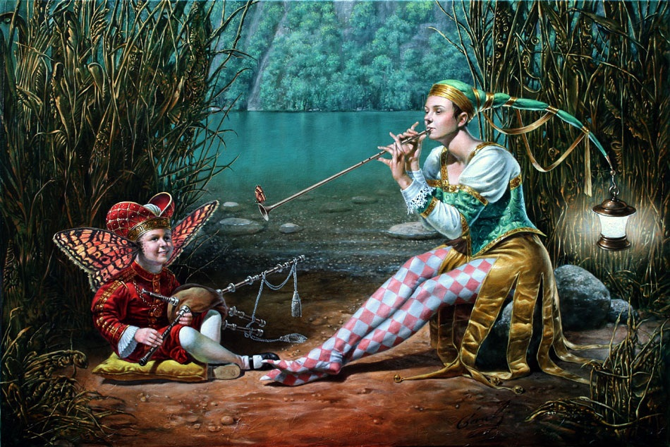 Michael Cheval - LULLABY FOR BUTTERFLY KING II - Oil on Canvas