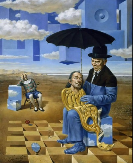 Michael Cheval - LULLABY OF UNCLE MAGRITTE - Oil on Canvas