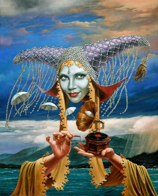 Michael Cheval - MELODY OF RAIN - Oil on Canvas
