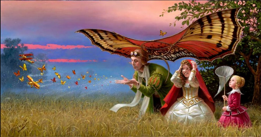 Michael Cheval - PROMISES OF THE PARTING SUMMER - Oil on Canvas