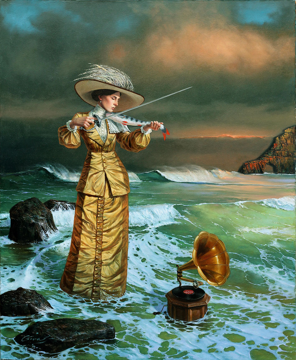 Michael Cheval - SONGS OF THE ISLAND SIRENS - Oil on Canvas