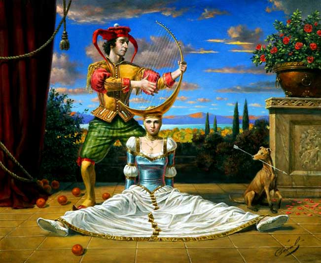 Michael Cheval - SPANISH ARCHER BLUES - Oil on Canvas