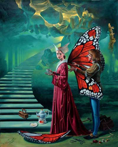 Michael Cheval - STAIRWAY TO HEAVEN - Oil on Canvas