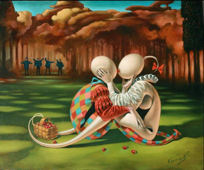 Michael Cheval - STRAWBERRY FIELD - Oil on Canvas