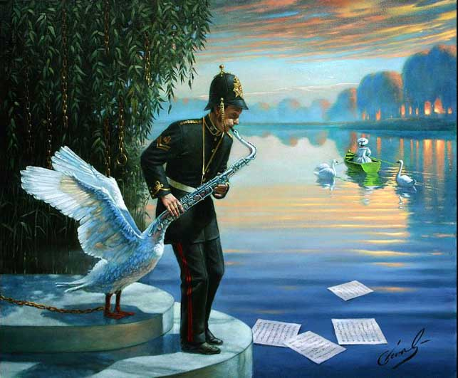 Michael Cheval - SWANSOPHONE ELEGY - Oil on Canvas
