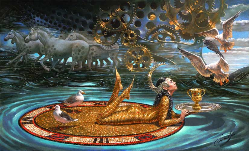 Michael Cheval - ZENITH OF TIME - Oil on Canvas