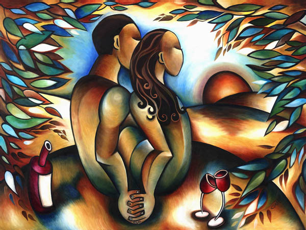 lovers embrace art. Stephanie Clair - Lovers at