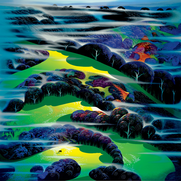 Eyvind Earle - I WANDERED OVER THE FIELDS original painting