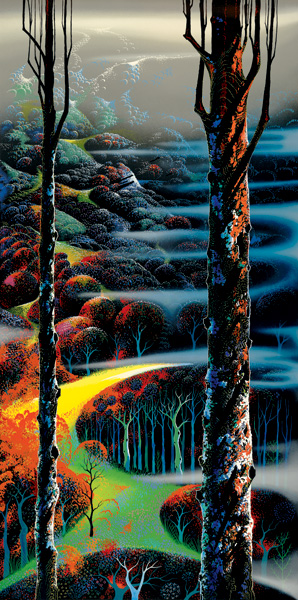 Eyvind Earle - A TOUCH OF AUTUMN original painting