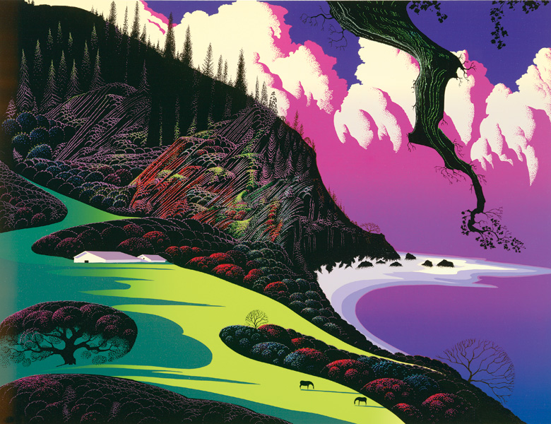 Eyvind Earle - Barns By the Sea - Limited Edition Serigraph print