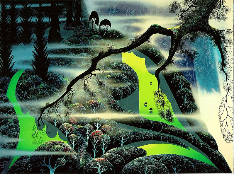Eyvind Earle - green pastures - Limited Edition Serigraph print