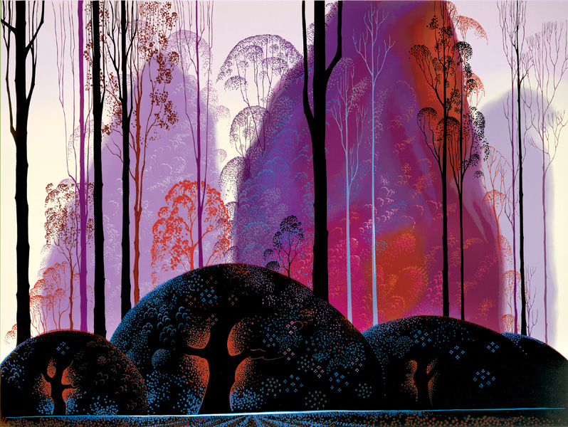 Eyvind Earle - Mauve Red and Purple original painting