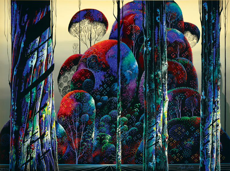 Eyvind Earle - Trees Draped in Autumn - Limited Edition Lithograph print