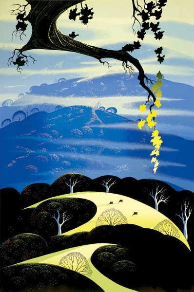 Eyvind Earle - Yellow Leaves - Limited Edition Serigraph print